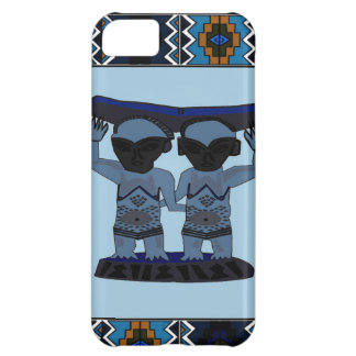 African tribal figures, blue iPhone 5C case