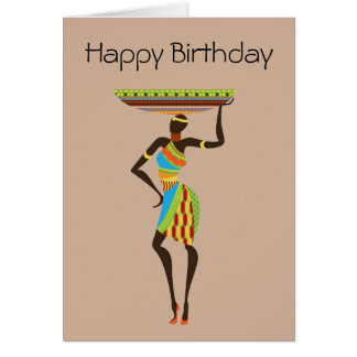 African Tribal Lady with basket tribal birthday Greeting Card