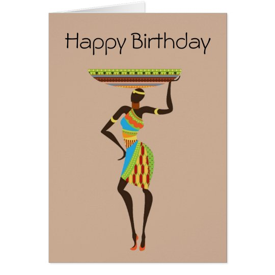 African Tribal Lady with basket tribal birthday Card