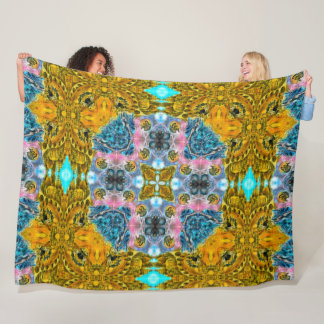 African Tribal Mandala Quilt Fleece Blanket
