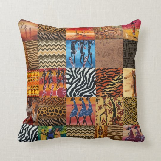 African Tribal pattern themed throw pillow
