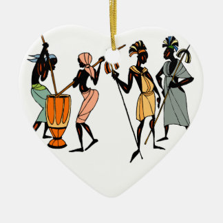 African tribal porcelain heart ornament