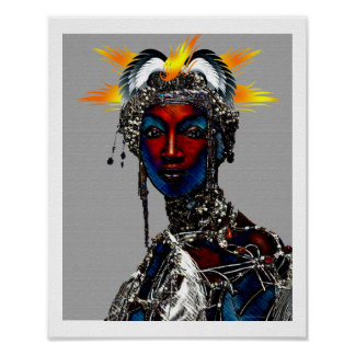 African Tribal Queen Poster