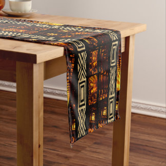 African Tribal Tapestry Motif Short Table Runner