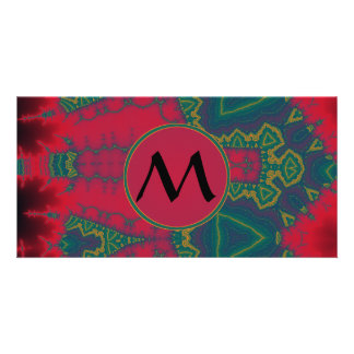 African Tribal Triangles Green with Red Monogram Customized Photo Card