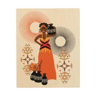 African Tribal Woman Illustration Wood Wall Decor