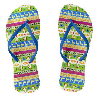 African Unicorn pattern Flip Flops
