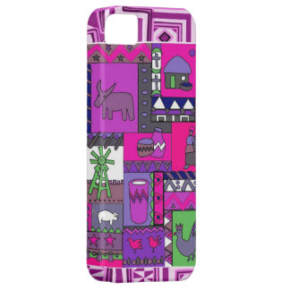 African village life, fuschia iPhone 5 cover