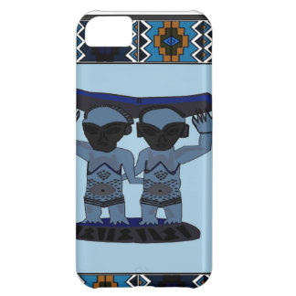 African village life tribal figures blue iPhone 5C case