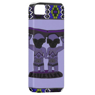 African village life tribal figures lilac iPhone 5 case