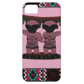 African village traditional tribal figures, pink, case for the iPhone 5