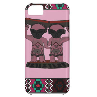 African village traditional tribal figures, pink, iPhone 5C case