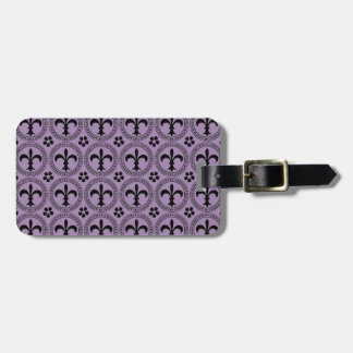 African Violet And Black Fleur De Lis Pattern Luggage Tag