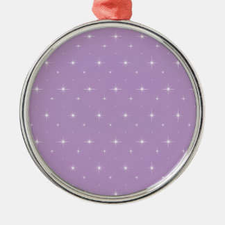 African Violet And Shining Stars Elegant Pattern Silver-Colored Round Decoration