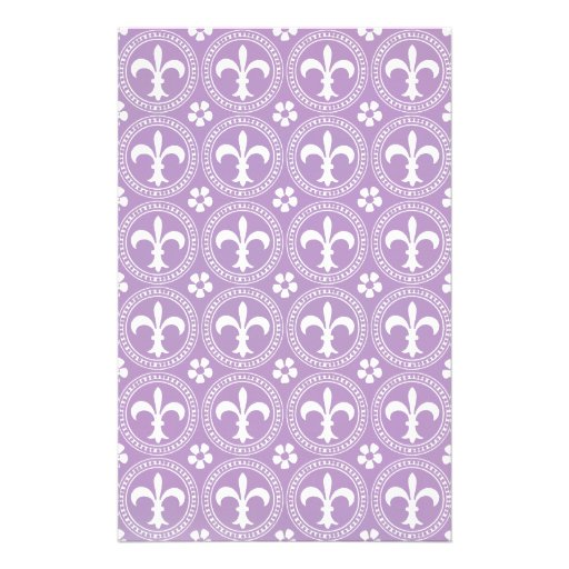 African Violet And White Fleur De Lis Pattern Customized Stationery