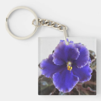 African Violet Blooming Double-Sided Square Acrylic Key Ring
