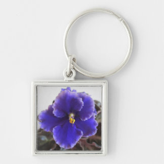 African Violet Blooming Silver-Colored Square Key Ring