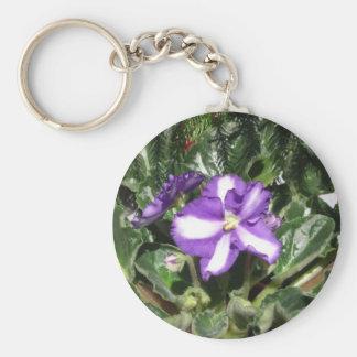 African Violet Blue/White Keychain