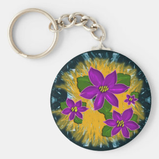 african violet basic round button key ring