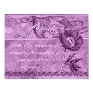 African Violet Poppy 11 Cm X 14 Cm Invitation Card