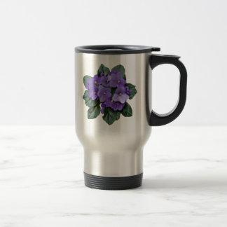 African Violet Purple Garden Flower Stainless Steel Travel Mug