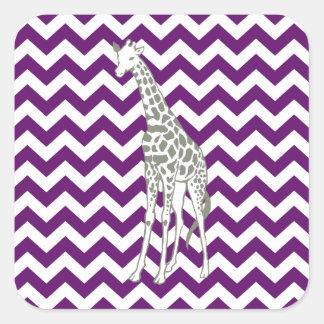 African Violet Safari Chevron with Pop Art Giraffe Square Sticker
