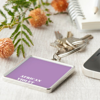 African violet Silver-Colored square key ring