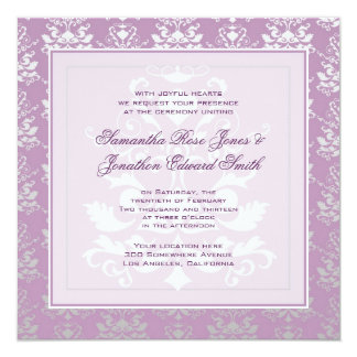 African Violet & Silver Damask Photo Wedding 13 Cm X 13 Cm Square Invitation Card