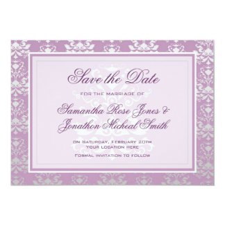 African Violet & Silver Damask Save the Date 13 Cm X 18 Cm Invitation Card