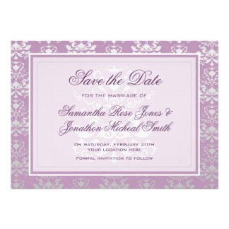 African Violet Silver Damask Save the Date Card