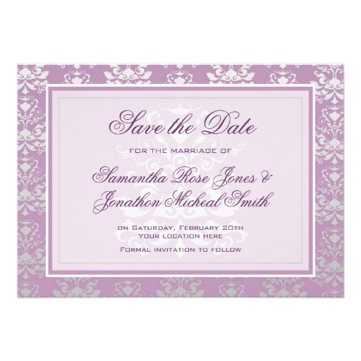African Violet & Silver Damask Save the Date Card