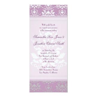 African Violet & Silver Damask Slim Wedding Invite