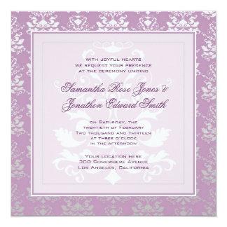 African Violet & Silver Damask Wedding 13 Cm X 13 Cm Square Invitation Card
