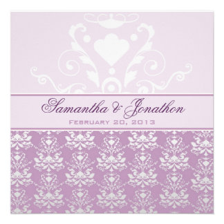 African Violet & Silver Damask Wedding Personalized Announcement