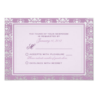 African Violet & Silver Damask Wedding RSVP Custom 9 Cm X 13 Cm Invitation Card