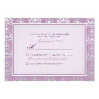 African Violet & Silver Damask Wedding RSVP Custom Card
