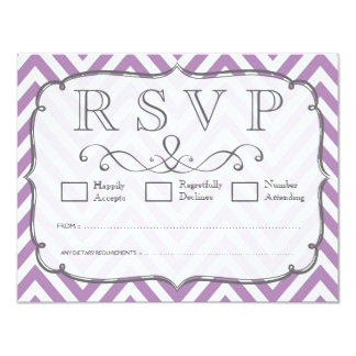 African Violet & White Chevron Wedding RSVP Cards
