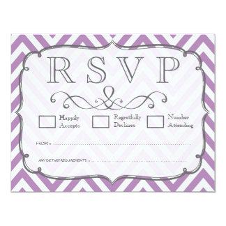 African Violet & White Chevron Wedding RSVP Cards 11 Cm X 14 Cm Invitation Card