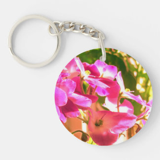 African violets Double-Sided round acrylic key ring