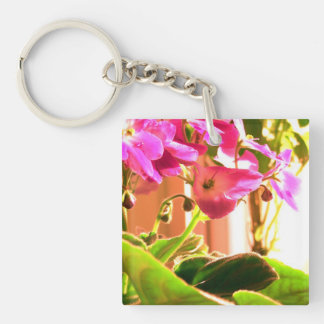 African Violets Double-Sided Square Acrylic Key Ring