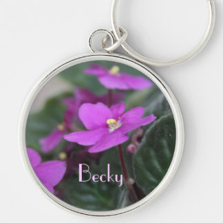 African Violets Personalized Silver-Colored Round Key Ring