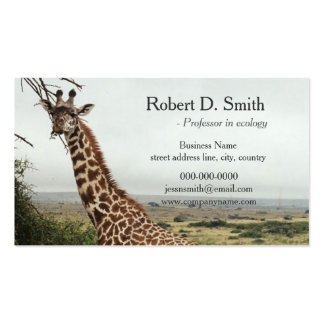 African wild giraffe science professional pack of standard business cards