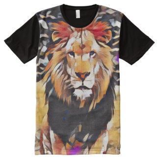 African Wild Lion Modern Cubism Paint All-Over Print T-Shirt