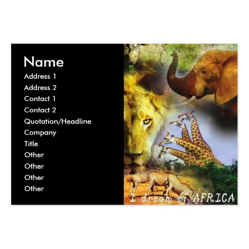 African Wildlife Business Cards