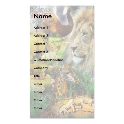 African Wildlife Collage Business Card