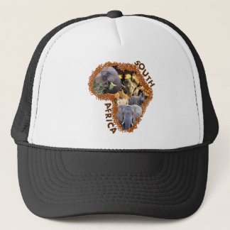 African wildlife continent collage 2 trucker hat