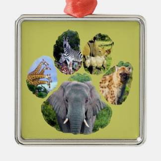 African Wildlife footprint collage II Silver-Colored Square Decoration