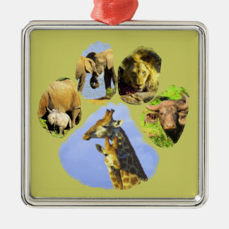 African Wildlife Footprint Collage III Silver-Colored Square Decoration