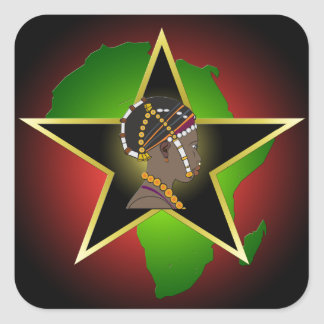 African Woman Continent & Star Square Stickers