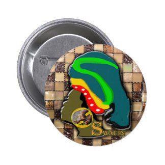 African Woman in Patch Work 6 Cm Round Badge